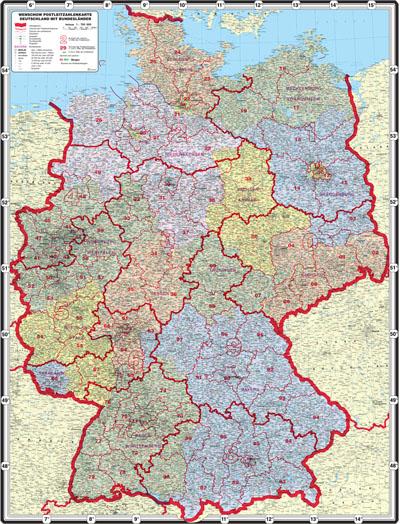 XXL Postleitzahlenkarte Deutschland mit Bundesländern