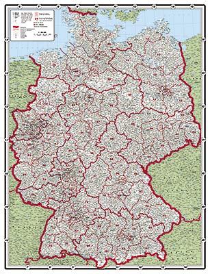 Postleitzahlen Karte Deutschland.Xxl Postleitzahlenkarte Deutschland Grun