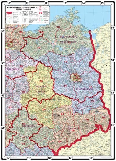 Bundesländer Karte Mit Plz.Xxl Bundesländerkarte Mit Postleitzahlen Ostdeutschland