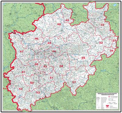 Karte Nrw Plz.Xxl Postleitzahlenkarte Nordrhein Westfalen
