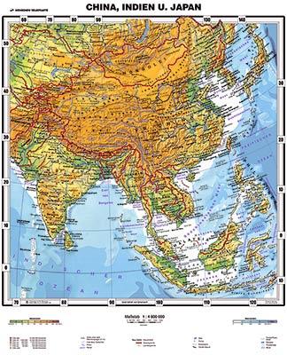 China Karte Physisch.Xxl China Indien Und Japan Physisch By Wenschow Günstig Bei