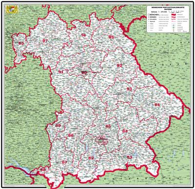 Plz Karte Bayern.Xxl Bundesländerkarte Bayern Mit Postleitzahlen