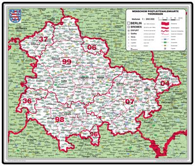 Bundesländer Karte Mit Plz.Xxl Bundesländerkarte Thüringen Mit Postleitzahlen
