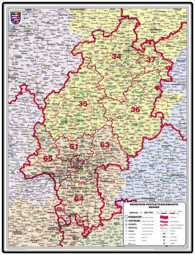 Bundesländer Karte Mit Plz.Xxl Bundesländerkarte Hessen Mit Postleitzahlen Leitbereiche In Farbe