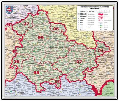 Bundesland Karte Mit Plz.Xxl Thuringenkarte Mit Postleitzahlen Bundeslander In Farbe