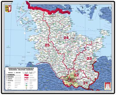 plz karte schleswig holstein XXL Bundesländerkarte Schleswig Holstein mit Postleitzahlen (Blau