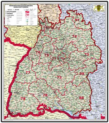 Bundesländer Karte Mit Plz.Xxl Bundesländerkarte Baden Württemberg Mit Postleitzahlen Bundesländer In Farbe