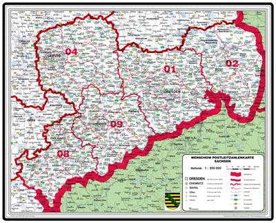 Bundesländer Karte Mit Plz.Xxl Bundesländerkarte Sachsen Mit Postleitzahlen Grün