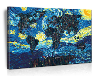 XXL Vincent van Gogh - The Starry Night Weltkarte (Limited Edition)