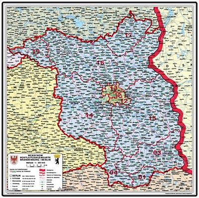 Postleitzahlen Karte Brandenburg.Brandenburg Berlin Postleitzahlenkarte Bundesfarbe