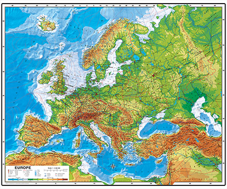 Europe Physical map by Wenschow NEW