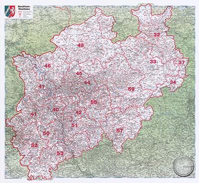 Karte Nrw Plz.Nordrhein Westfalen Plz 1 Gunstig Bei Geosmile De