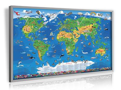 XXL/1,35 Meter - Panorama Kinder Weltkarte (Edition 2014)