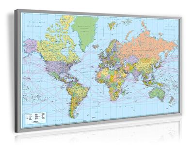 Weltkarte - politisch mit Seehäfen