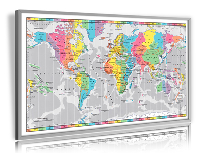 XXL - Young Lifestyle Design Zeitzonen-Weltkarte