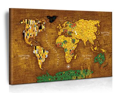 XXL Art-Design Weltkarte (Gustav Klimt - Der Kuss) - Limited Edition