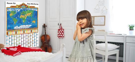 Werbemittel: Kinderweltkarte mit Ihrem Firmen-Logo