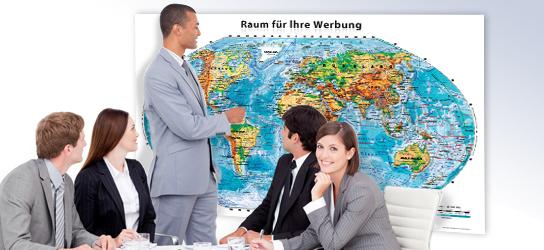 Werbemittel: Weltkarte 3D Relief Optik mit Ihrem Firmen-Logo